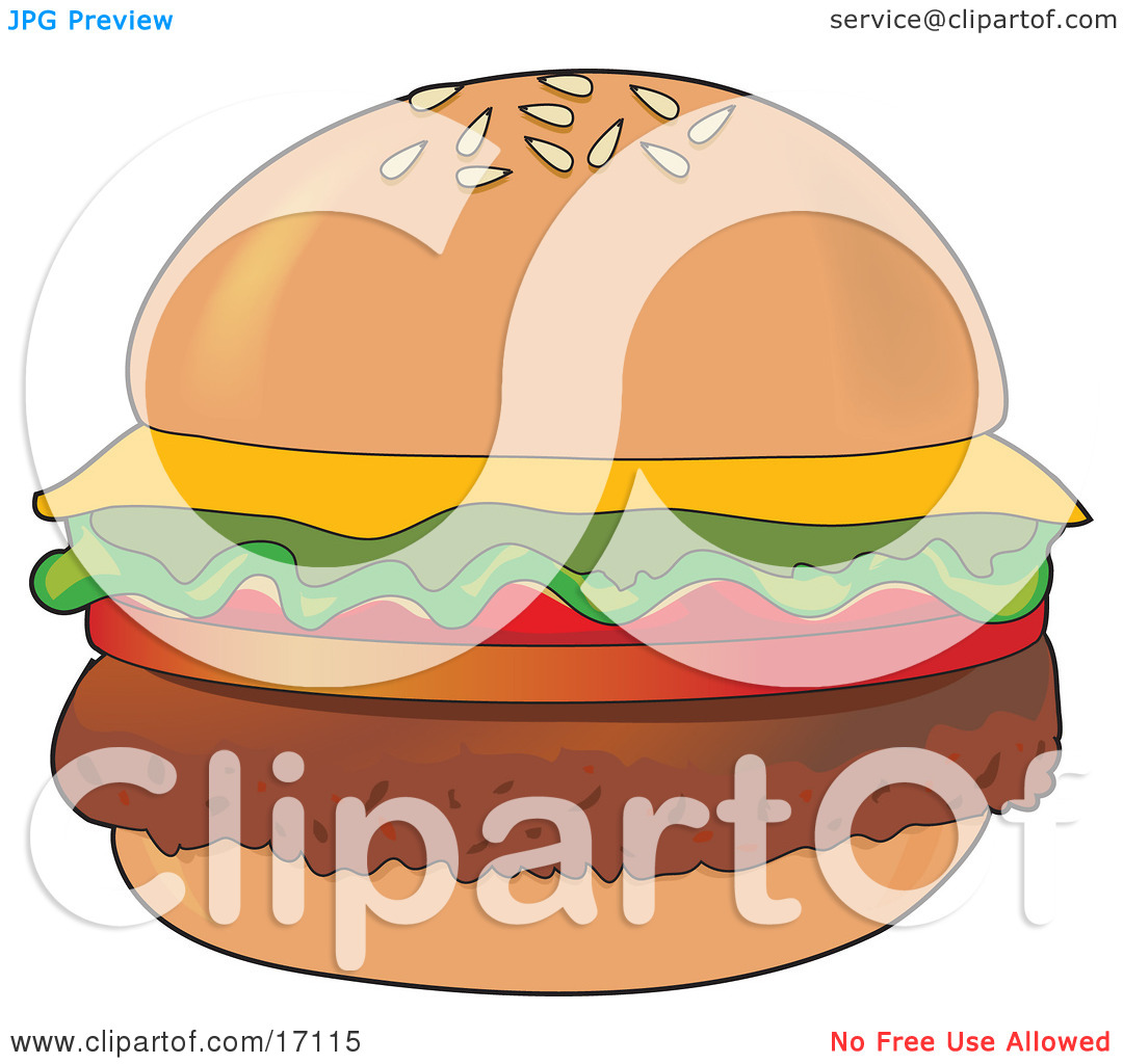 Perfectly Garnished Cheeseburger With Hamburger Meat, Tomatoes.
