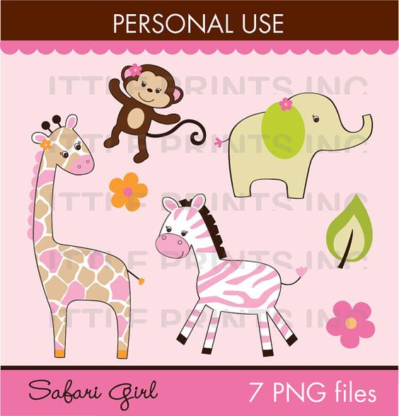 Safari Girl Jungle Animal Clipart PERSONAL USE Instant Download.