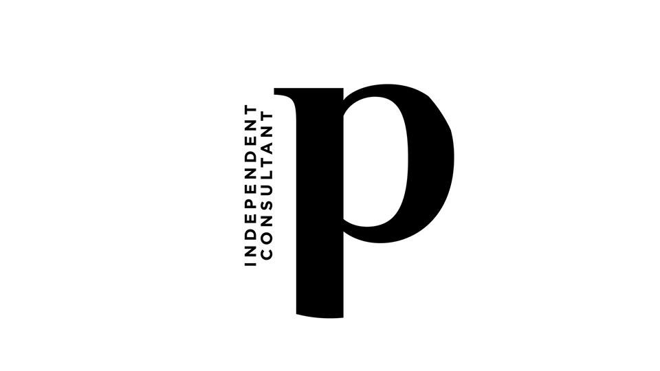 Black on white circular logo..