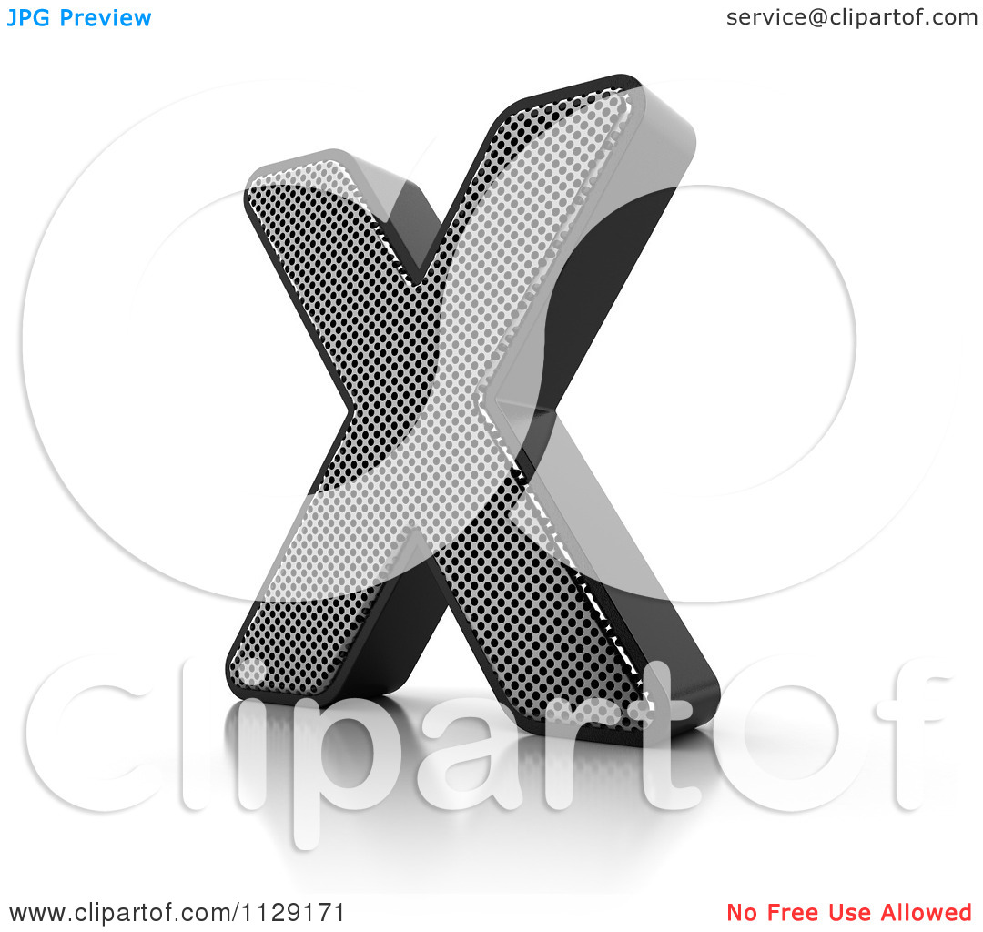 Clipart Of A 3d Perforated Metal Letter X.