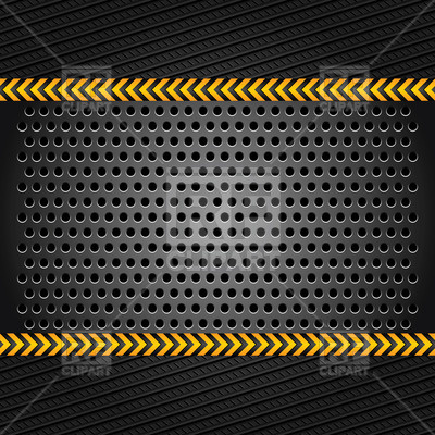 Metallic background perforated sheet with stripy lines Vector.