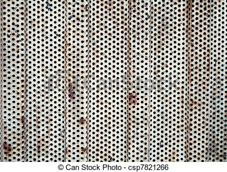 Stock Image of rusty perforated sheet.