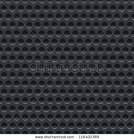 Seamless Texture Perforated Pattern Black Metal Stock Vector.