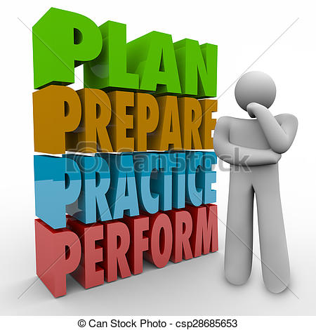 Stock Illustrations of Plan Prepare Practice Perform Thinking.