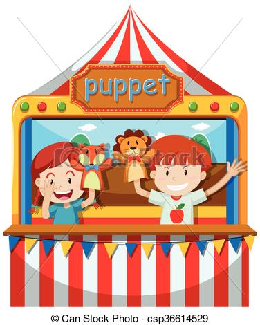 Vector Illustration of Children perform puppet show on stage.
