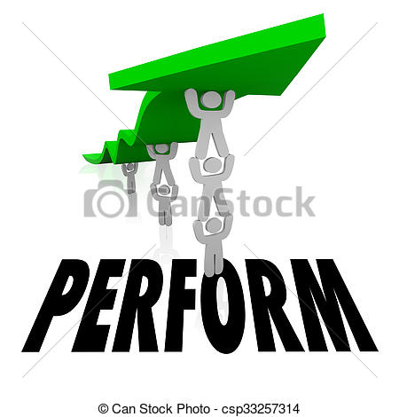 Clipart of Perform Team Lifting Arrow Together Achieve Success.