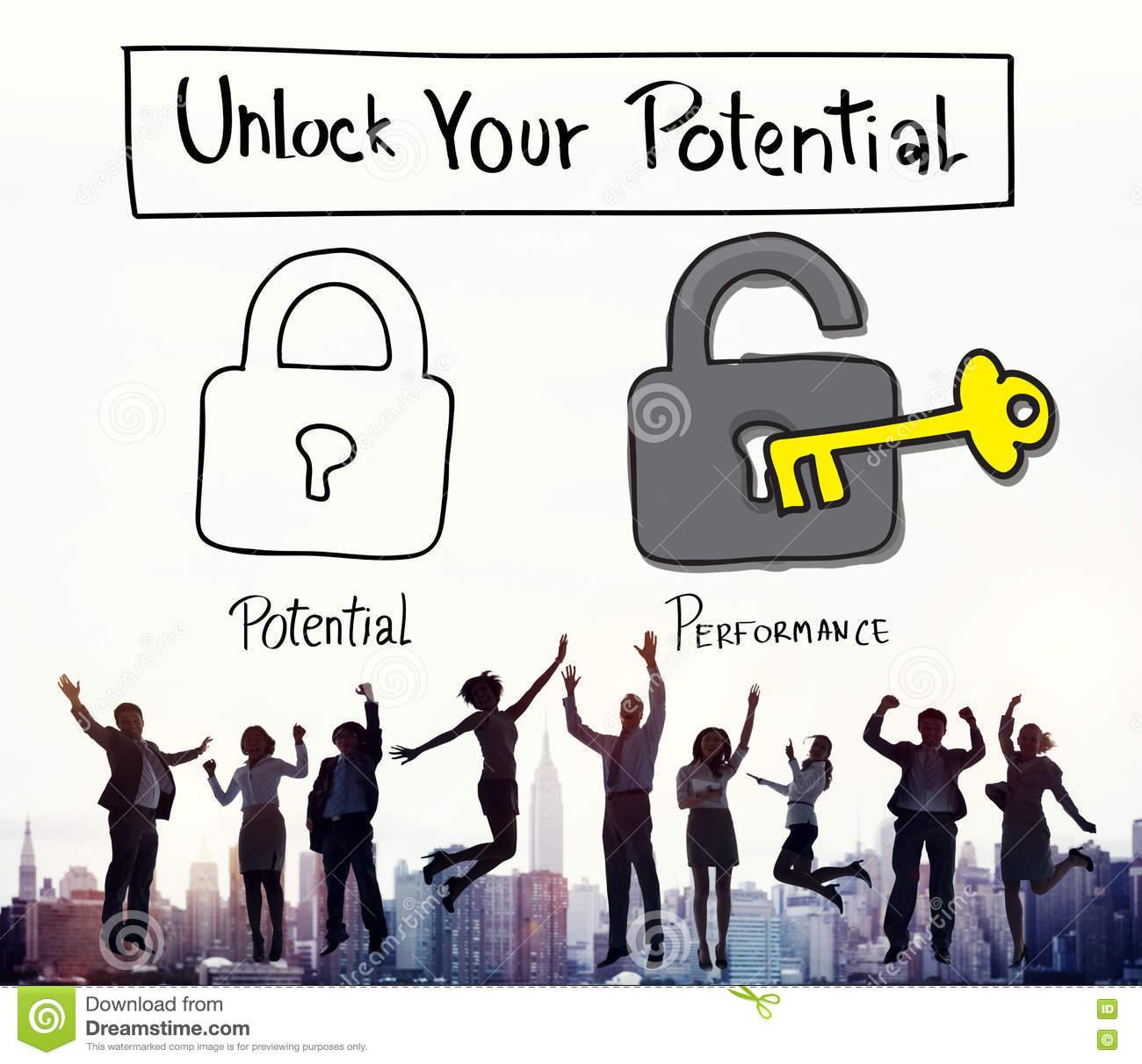 Potential Performance Ability Accomplishment Skill Concept Stock.