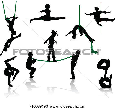 Clipart of Silhouettes of circus performers. k10089182.