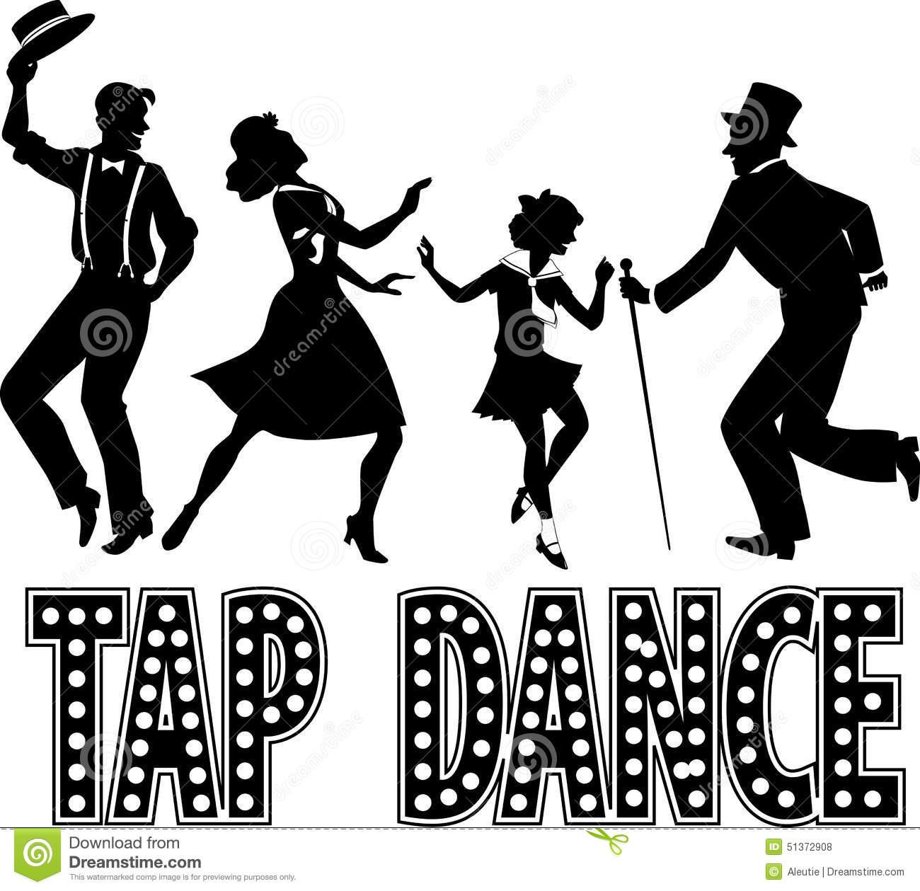 Tap Dance Silhouette Banner Stock Vector.