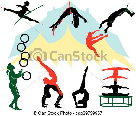 Clipart Vector of Silhouettes of circus performers. csp39739957.