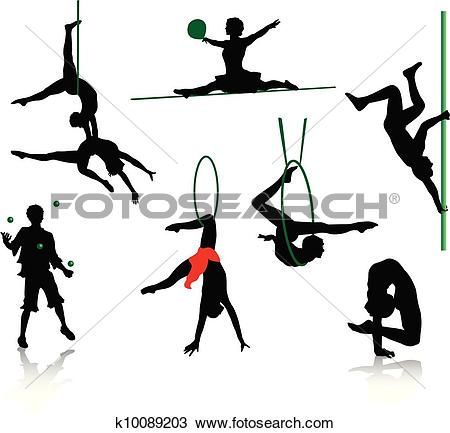 Clipart of Silhouettes of circus performers. k10089203.
