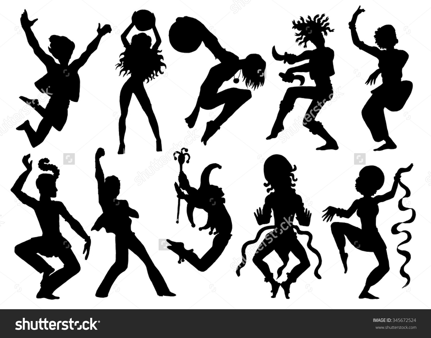 Design Set Silhouettes Dancers Performers Action Stock Vector.