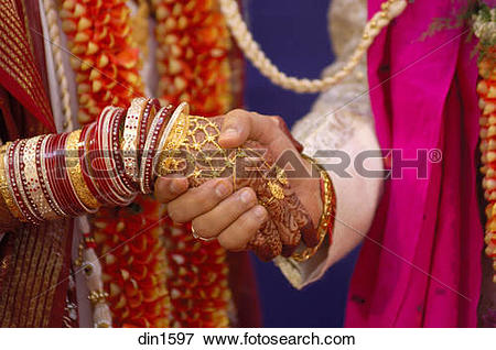 Picture of South Asian Indian bride and bridegroom holding hands.