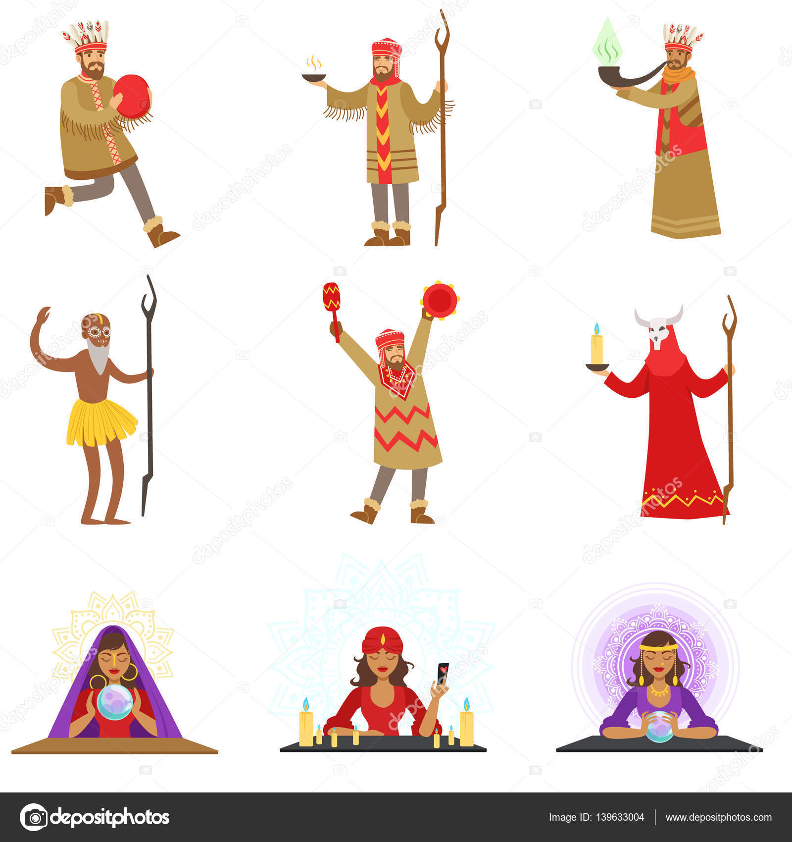 Different Cultures Shamans And Gypsy Fortune.