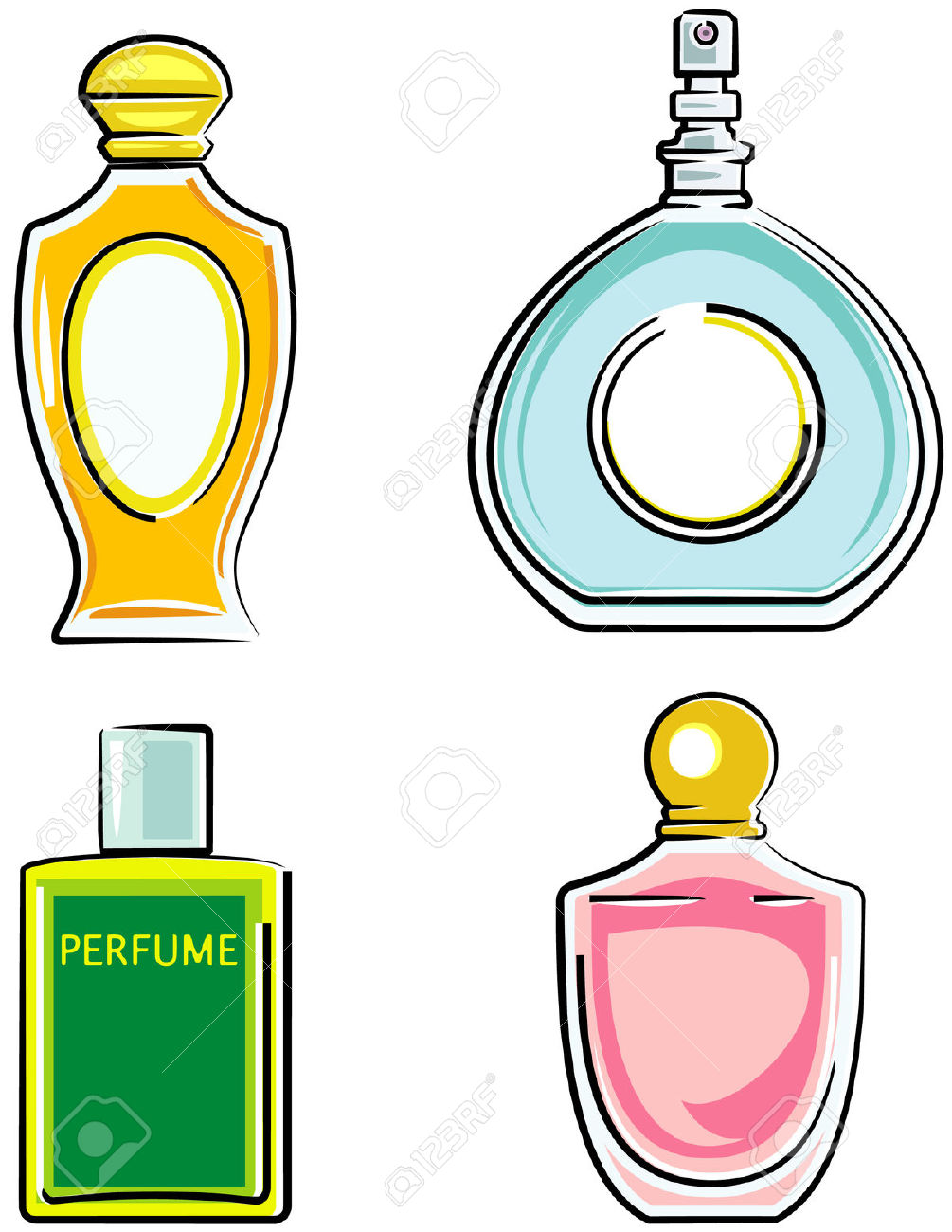 Perfume bottles clipart - Clipground