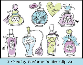 Images of clipart perfume bottles.