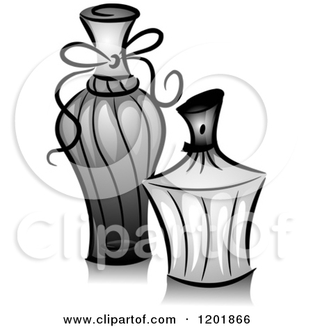 Clipart Of A Retro Vintage Black And White Glass Perfume Bottle.