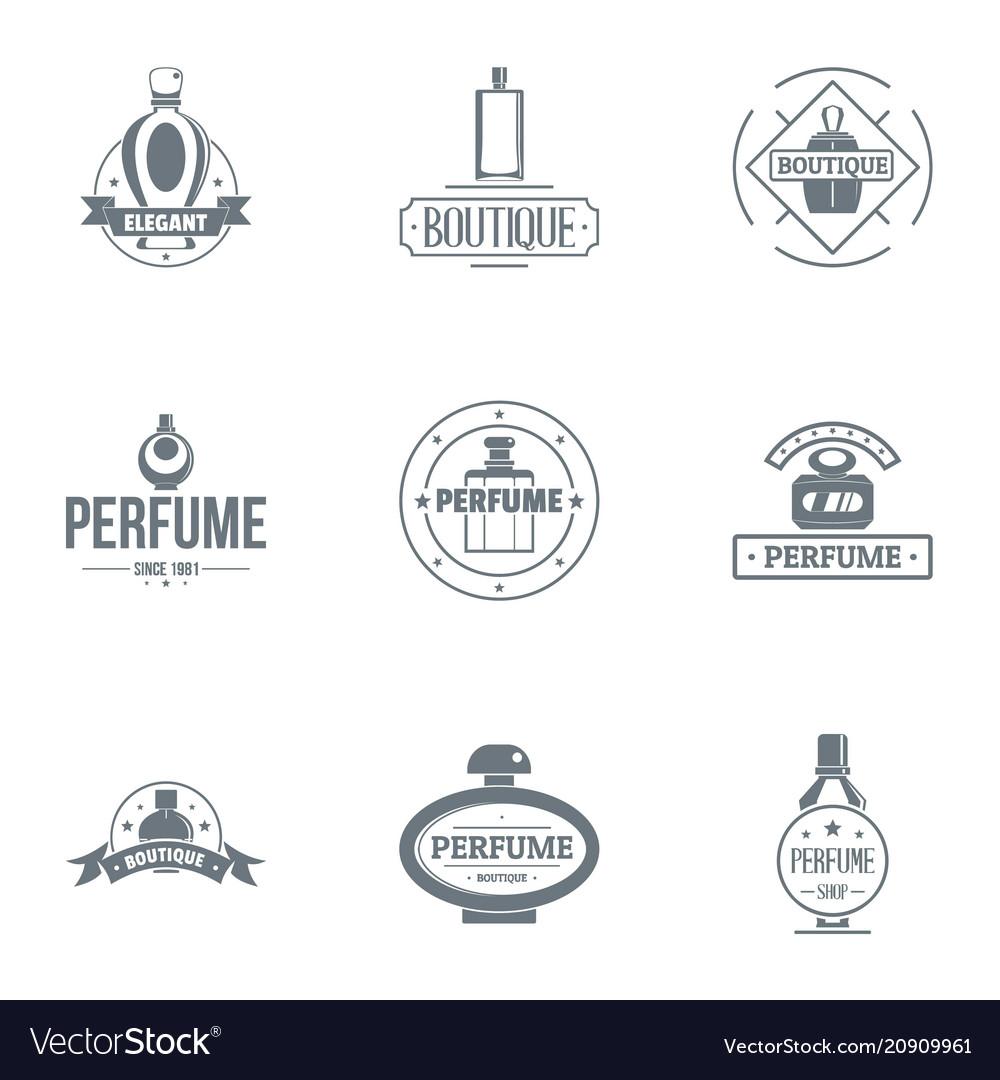 Unique perfume logo set simple style.