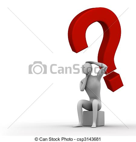Clipart of desperate man who perhaps has found an answer.