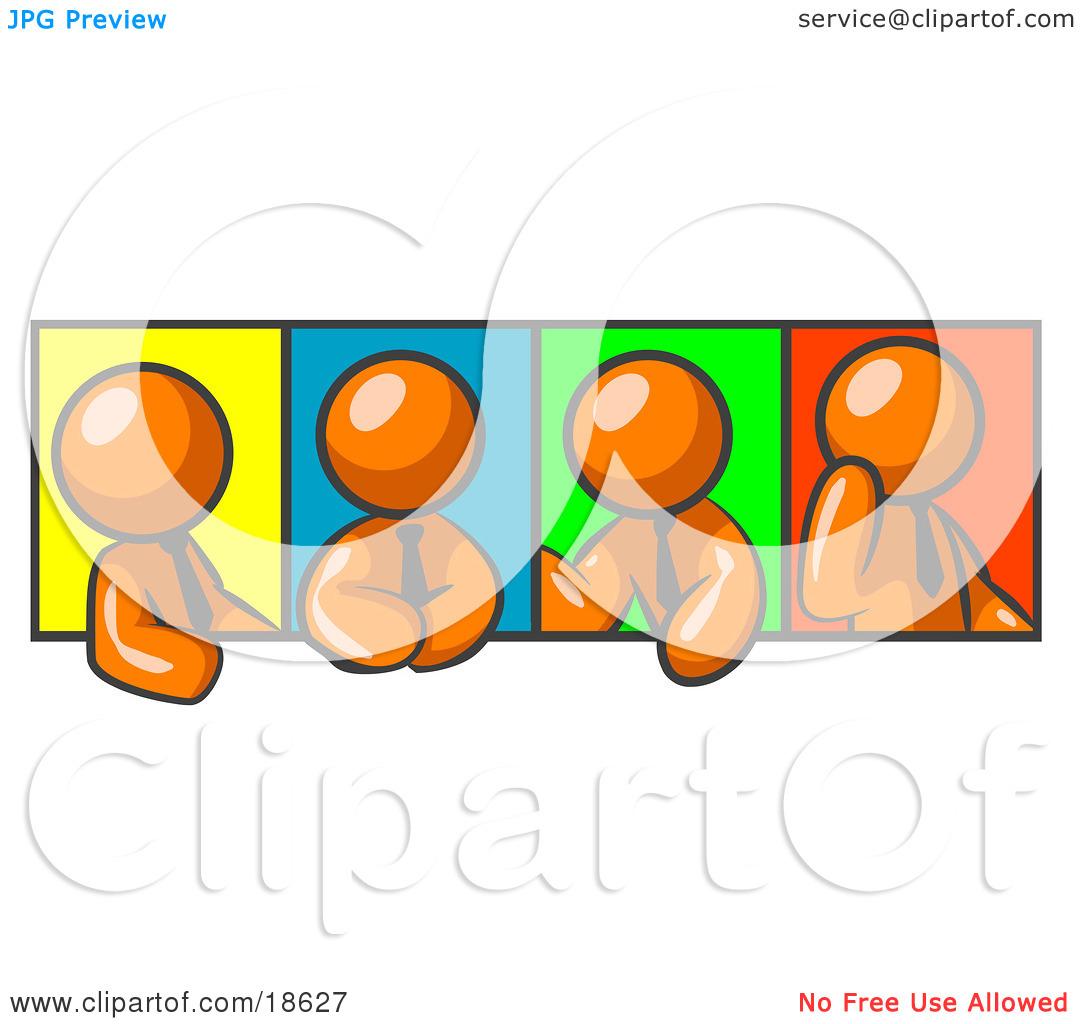 Clipart Illustration of Four Orange Men In Different Poses Against.