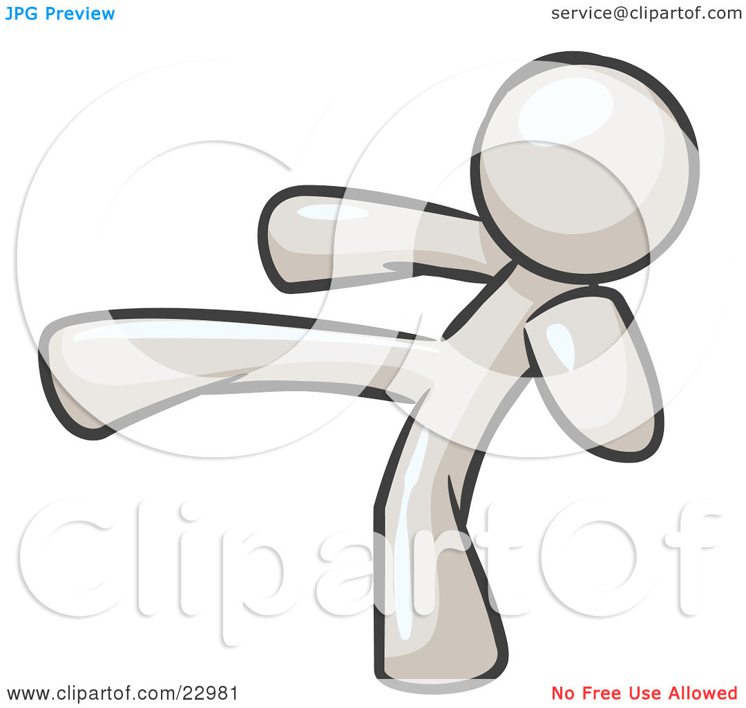 Clipart Illustration of a White Man Kicking, Perhaps While.