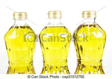 Stock Images of three bottles oil of refined palm olein from.