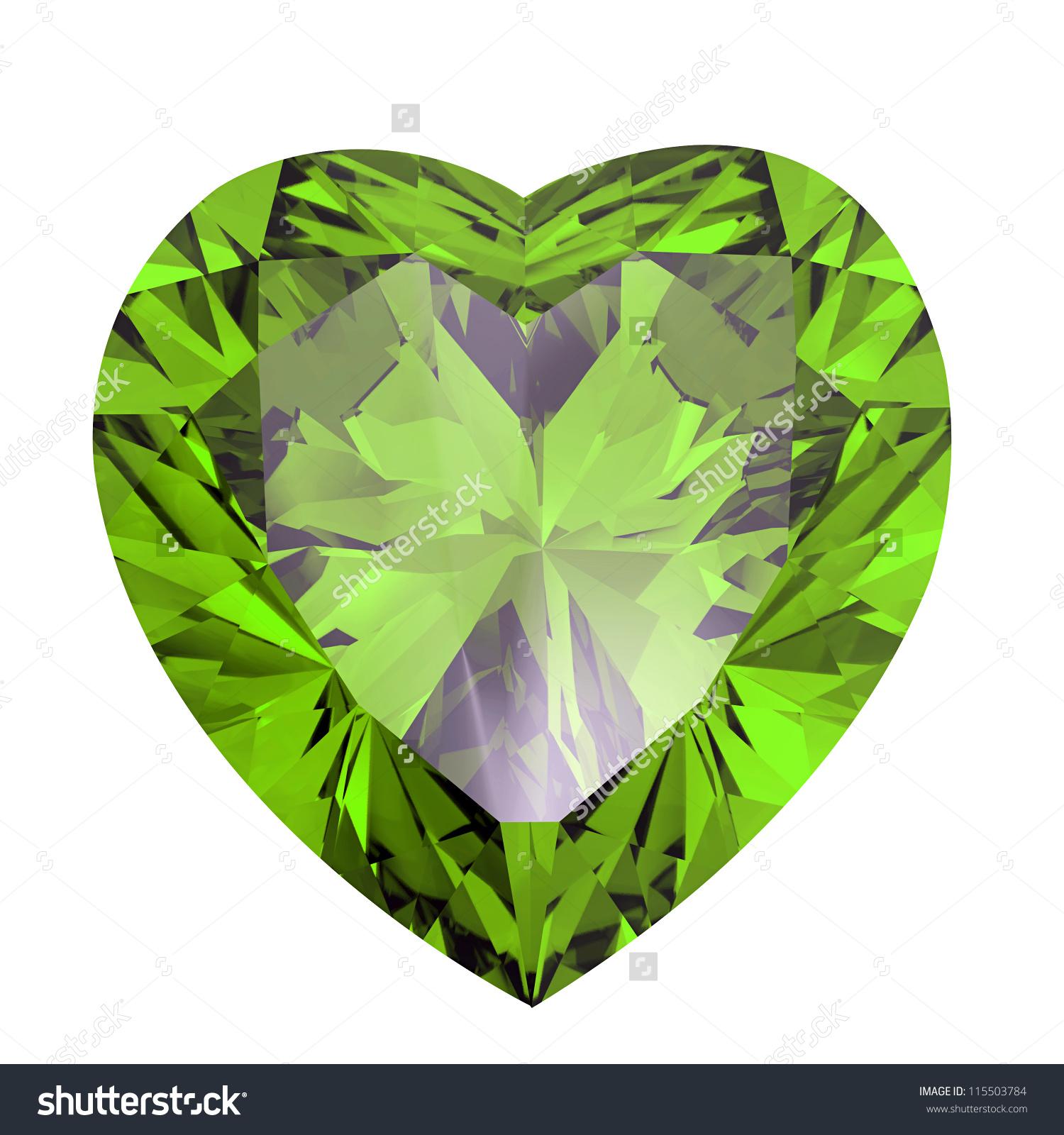Heart Shaped Diamond Isolated On White Stock Illustration.