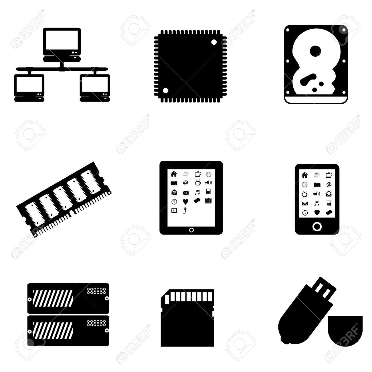 Computer Teile Und Peripheriegeräte Lizenzfrei Nutzbare.