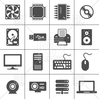 Computer hardware and peripheral devices icons Vector Image #12507.