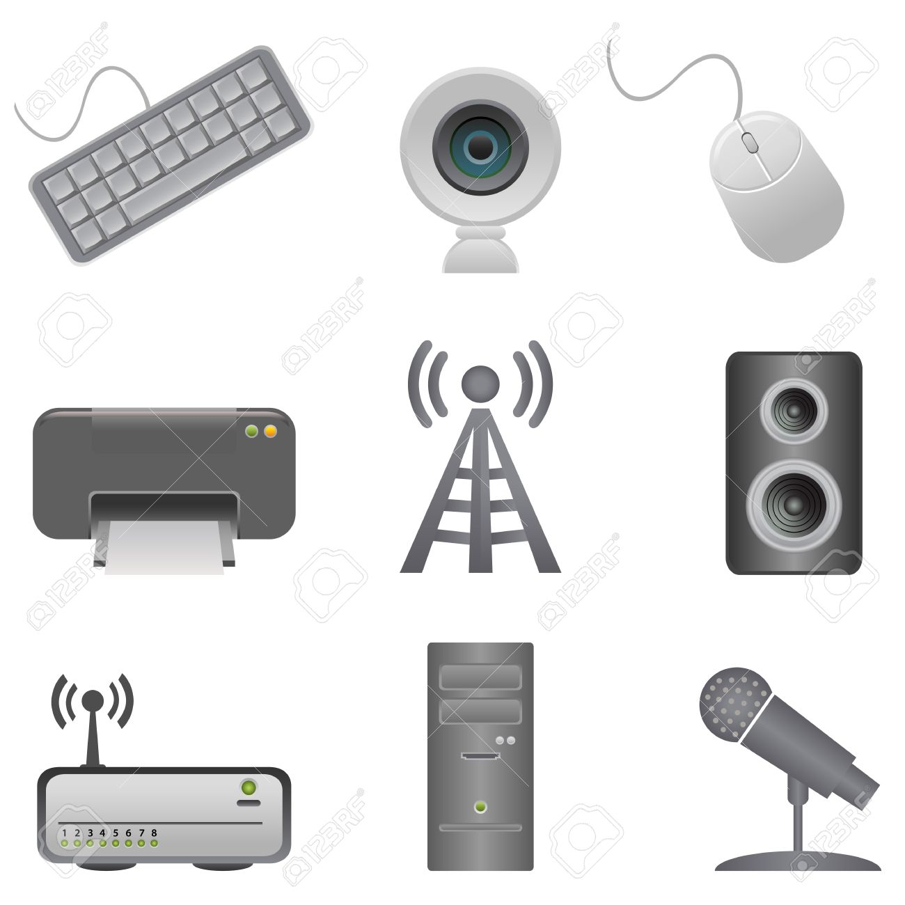 Various Computer Peripherals And Accessories Royalty Free Cliparts.