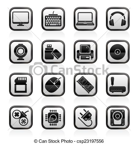 Clipart Vector of Computer peripherals icons.