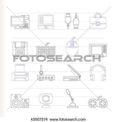 Clipart of Computer equipment and periphery k5507574.