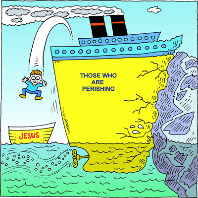 Image: Jumping off an Ocean liner unto a small boat label Jesus.