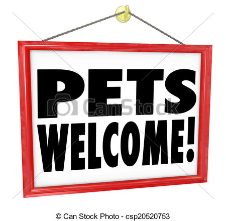 Stock Illustrations of Pets Welcome Allowed Permitted Store.