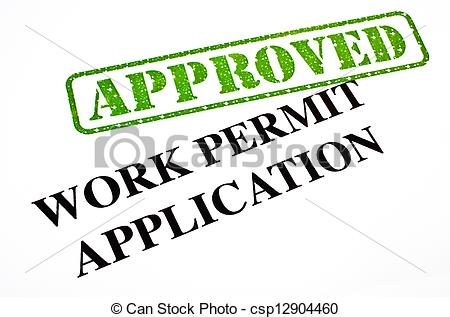 Stock Image of Work Permit Application APPROVED.