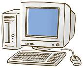 Stock Illustration of Personal computer, close up, high angle view.