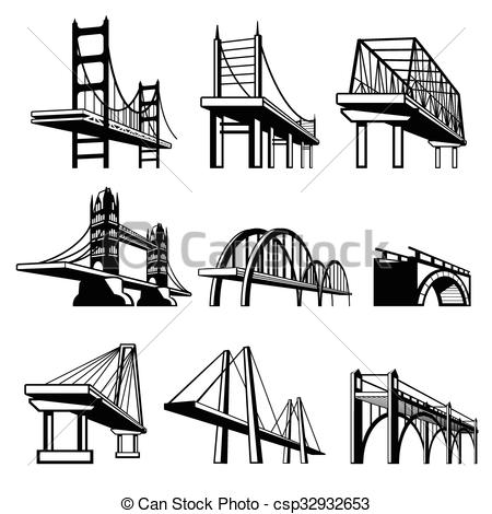 Clipart Vector of Bridges in perspective vector icons set.