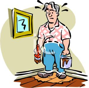 Cartoon of a Man Perplexed After Painting Himself Into a Corner.