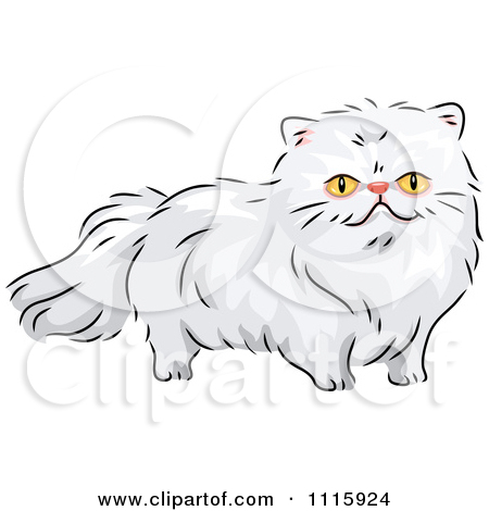 Clipart Long Haired White Persian Cat.