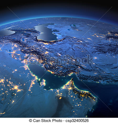 Clip Art of Detailed Earth. Persian Gulf on a moonlit night.