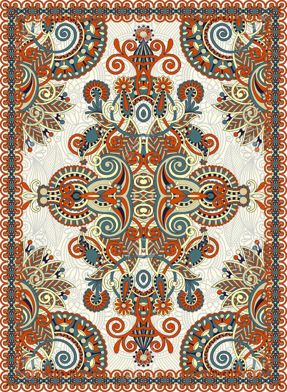 Ukrainian Oriental Floral Ornamental Seamless Carpet Design.