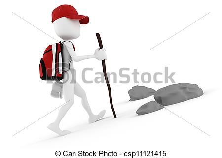 Clip Art of 3d man climbing mountain.