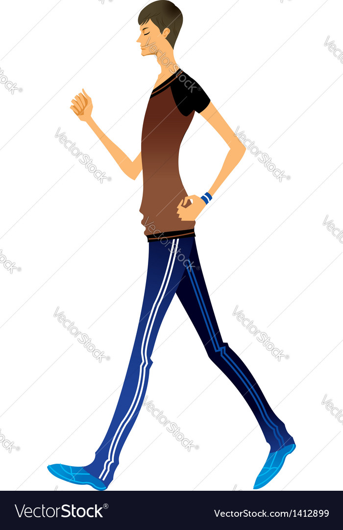 Side view of man walking Royalty Free Vector Image.