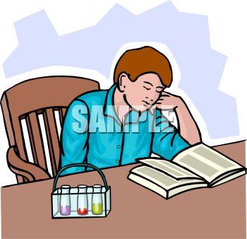 Teenage Boy Fell Asleep Doing Chemistry Homework.