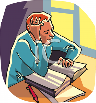 Clip Art Picture of Young Man Studying.