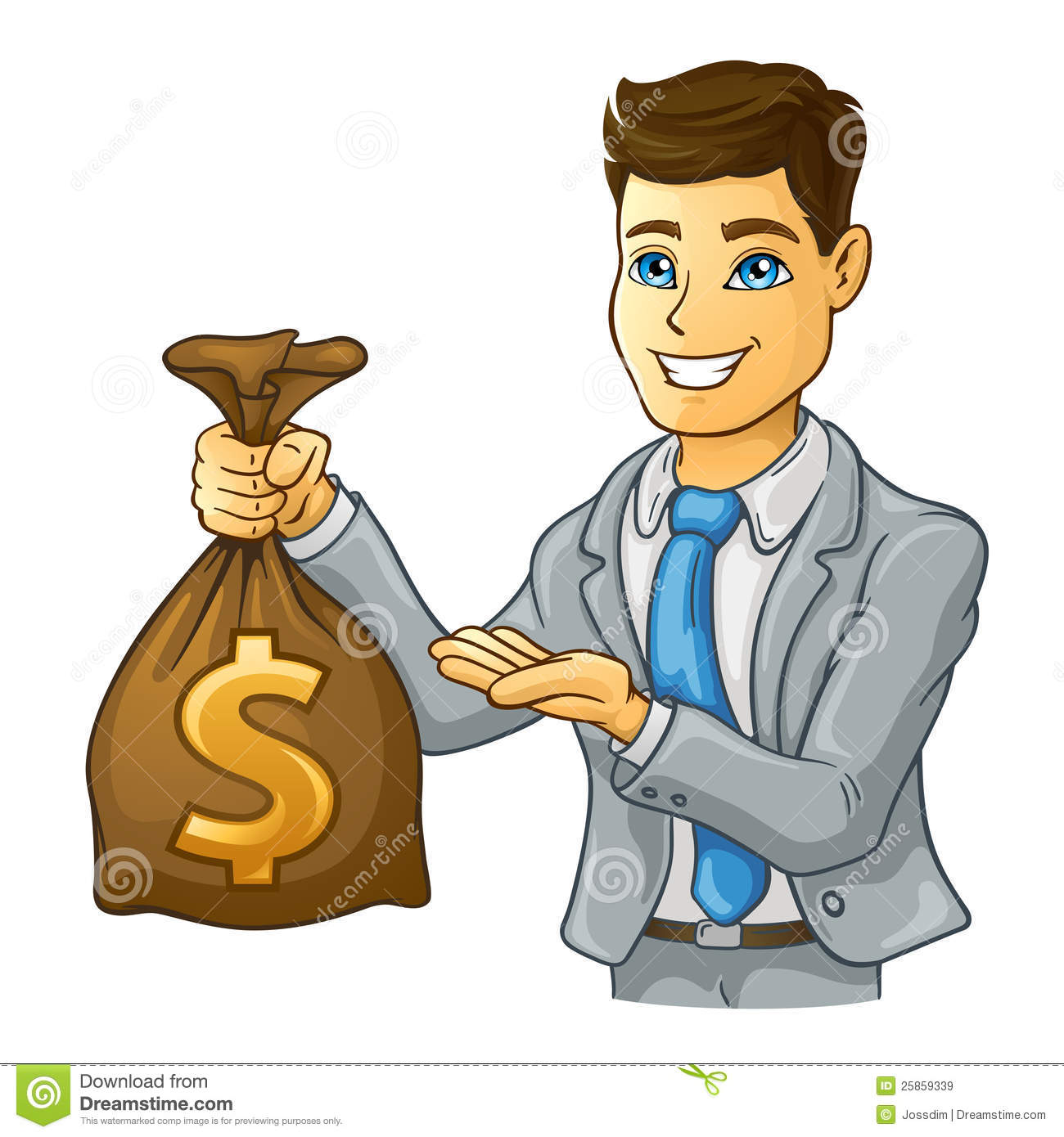 Man Holding Money Clipart.