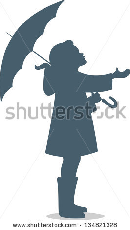 Girl Under Umbrella Silhouette.