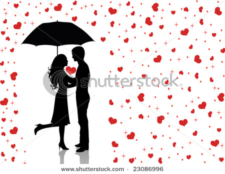 stock vector : Silhouettes of man and woman standing and hugging.
