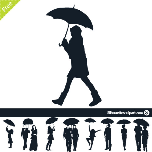 People under umbrella silhouette.