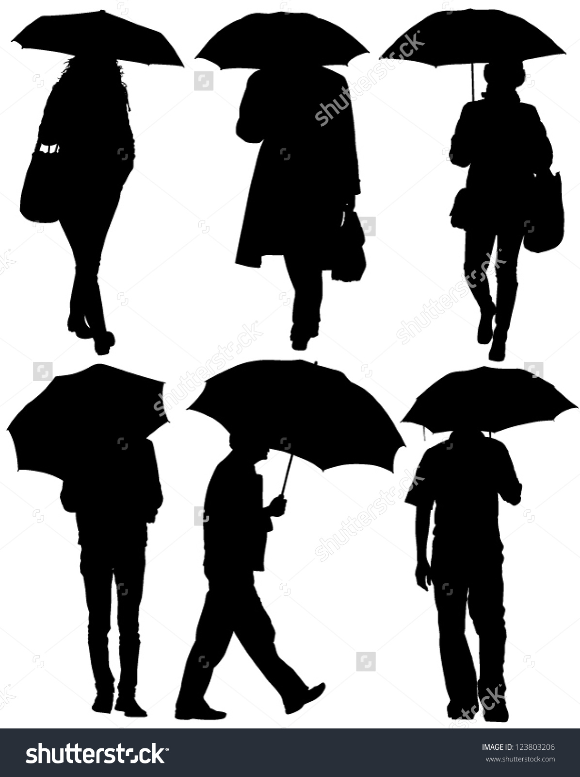 Man Woman Umbrella Silhouette On White Stock Vector 123803206.